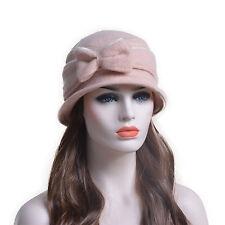 Womens 100 Boiled Wool Bow Bucket Hat Foldable Cloche Winter Cap T177 Pink