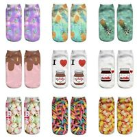 Womens Cute Milk Candy Fruit Printed 3D Socks Colorful Sock Funny Happy Socks