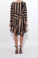 Philip lim Striped Dress Black Brown 12UK