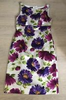Stunning HOBBS Pencil Dress Grey Purple Green Floral Silk Mix UK 10 Wedding