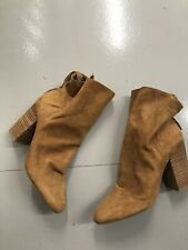 French Connection Camel Suede Leather Calf Hugh Heeled Boots Size 5 Euro 38 B23