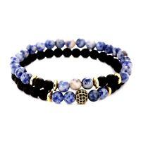 2 Bracelets Homme,Femme,Ésotérique Puissant pou la CommunicationJaspe Bleu Onyx