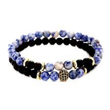 2 Bracelets Femme,Homme,Ésotérique Puissant pou la CommunicationJaspe Bleu Onyx
