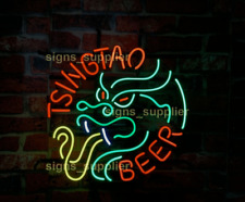 "New Tsingtao Dragon Neon Light Sign 17""x14"" Beer Gift Bar Lamp Glass Chinese"