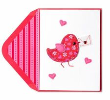PAPYRUS Valentine's Day Card Fabric Bird with Stitching Embroidery Retails $7.95