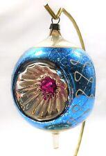 VINTAGE LARGE 4 INCH MERCURY GLASS TRIPLE CONCAVE FINIAL CHRISTMAS ORNAMENT SL05