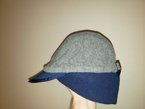 Vintage PATAGONIA Duckbill Fleece Cap Hat Gray Blue 90's LARGE Made In USA