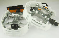 "Old school BMX XC-II Wellgo bear trap pedals 9/16"" (FOR 3 PIECE CRANKS) WHITE"