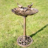 VIVOHOME Freestanding Pedestal Bird Bath Backyard Garden Water Food Feeder Bowl