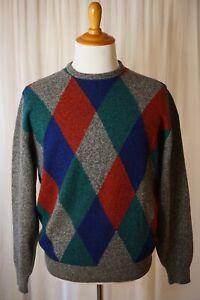 Old World Glam Pringle Of Scotland 100% Lambswool Grey Argyle Sweater Sz 42