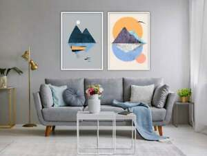 Contemporary Scandinavian Prints, Moon Island and Boat Wall Art Poster Set of 2