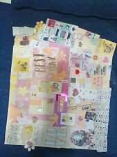junk journal supplies, 111 pink & yellow papers, trims, tags, ephemera etc