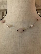 SILPADA Pink Pearl Rose Quartz Wire Collar Necklace N1724 Sterling Silver