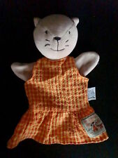 doudou plat marionnette chat robe carreaux MOULIN ROTY