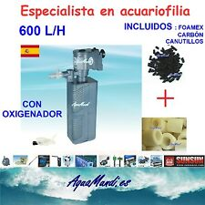 filtro interior interno acuario 600 L/H carbon activo activado canutillos
