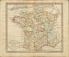 """1790s original  map of """" france divided into military goverments """""""