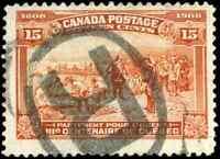 Canada #102 used F-VF 1908 Quebec Tercentenary 15c Champlain's Departure JUMBO