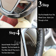 Black+Blc Genuine Leather DIY Car Steering Wheel Cover With Needles and Thread