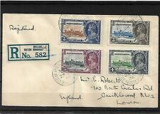 "BRITISH HONDURAS 1935 JUBILEE SET ON REGISTERED COVER, SG143/6, CAT  ""FROM"" £168"