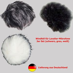 net4web 3er Pack Windfell f. Lavalier-Mikrofone (weiß, schwarz, schwarzweiss)