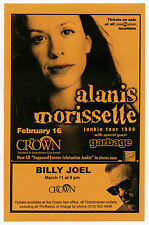 Alanis Morissette Garbage Billy Joel 1999 Concert Handbill / Flyer - Orange
