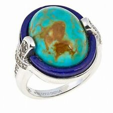 Jay King White Topaz, Lapis and Oval Tyrone Turquoise Silver Ring - Size 8 NWT