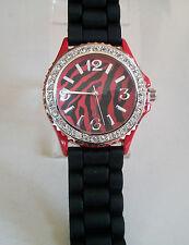 Geneva Zebra Print Red/Black Crystal Encrusted Silicone Band Wrist Fashion Watch