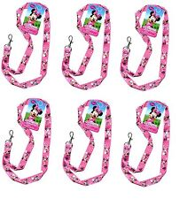 """Disney Minnie Mouse Pink Bowtique Pin Trading Keychain Lanyard 18"""" -6 Pack"""