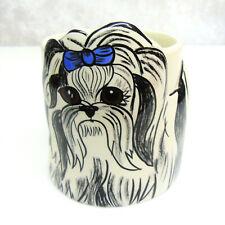 New Dogs By Nina Coffee Mug Large 16oz Yorkshire Terrier Ceramic Blue Bow