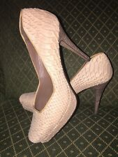 New! Paco Gil Platform Pumps, Size 8 B, Taupe color Snake Leather Lined Heels