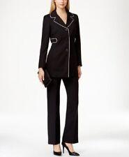 NEW Le Suit Women's 2 Piece Contrast Trim 3-Button Pantsuit Size 4 $200 C3273