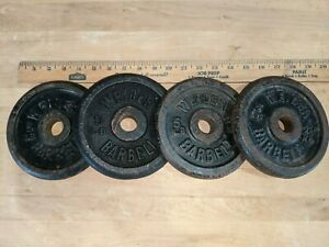 """Lot of four(4) Weider 5lb. Plates Weights 1"""" Standard Hole Barbell L2"""
