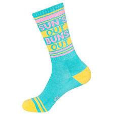 SUN'S OUT BUNS OUT Ribbed Gym Crew Socks Novelty Statement by Gumball Poodle