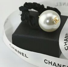 CHANEL AUTH BIG PEARL HAIR TIE, Ponytail Holder, RUNWAY ITEM LUXURY! White Frost