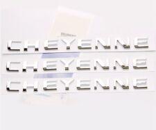 3x Oem Chrome Cheyenne Nameplate Emblems Badge Letter Gm Chevrolet Silverado fWu