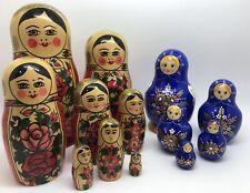 Russian Matryoshka Set of 2 Nesting Dolls in Red & Blue; Ussr, Russia (Rf999)