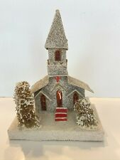 "Vintage Putz Church w/Bell Tower Loofah Trees Mica Cardboard 8"" x 5.5"" Light Up"