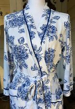Blue & White Floral Cotton Robe By Carole Hochman- Size M