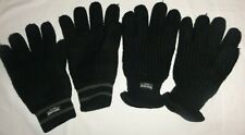 2 PAIRS MENS BLACK THERMAL GLOVES THINSULATE FLEECE LINED CHUNKY KNIT INSULATION