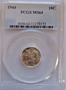 1944 10C Mercury Dime PCGS MS 64