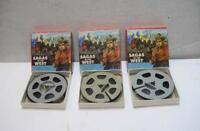 Vintage Castle Films Lot Of 3 Sagas of the West 8mm Films No.583 586 & 588 w Box
