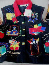 Dress Barn Corduroy Vest 2X Black /Red-School Theme Embroidery,Fancy Buttons,Tag