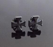 Maltese Cross BLACK Stud PAIR Ear Ring Earrings Biker Punk