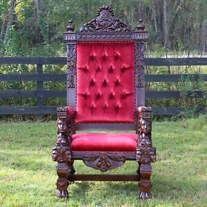 Giant Throne Chair Winged Mahogany and Red Velvet for King or Santa Claus