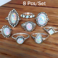 8PCS/Set Ring Silver White Fire Opal Ring Wedding Engagement Ring Women Jewelry.