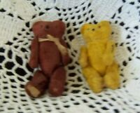 2 ANTIQUE MINIATURE  TEDDY BEARS 3 inch MOHAIR JOINTED