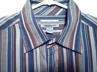 Johnston & Murphy XL Mens Tailored Fit Shirt Blue & Brown Striped Button Front