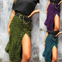 Autumn Ladies Fashion Sexy Leopard Print Skirt Split High Waist Cocktail Dress