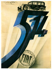 "TARGA VINTAGE ""AUTO FIAT 514"" PUBBLICITA' EPOCA, CAR ADVERTISING, POSTER,RICAMBI"