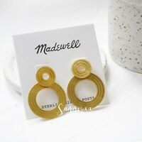 Madewell Etched Interlock Earrings in Vintage Gold - Gold Plated Brass - NWT